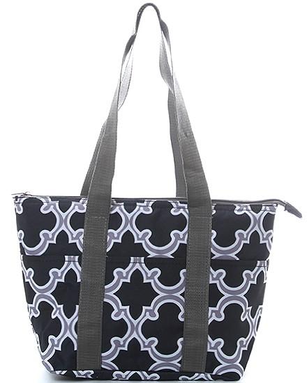 black gray white quatrefoil