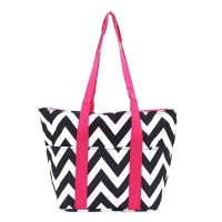 Black Chevron with Hot Pink Straps Insulated Wine Tote Wine Purse