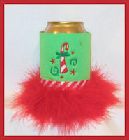 candy cane can feather koozie