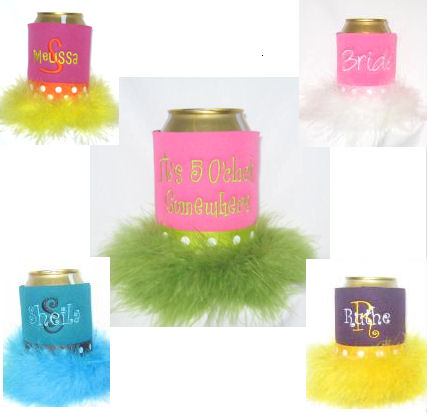 koozies with feathers