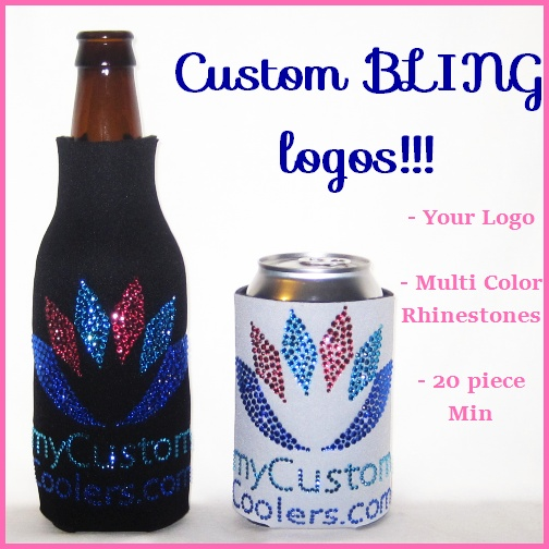 custom bling logo beverage coolers