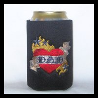 Ready to Ship Tattoo Style Heart Dad Can Cooler