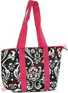 damask wine tote with pink straps insulated wine purse