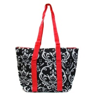 damask with red straps insulated wine tote wine purse