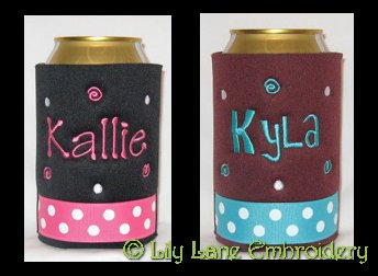 Dots and Swirls Can and Bottle Coolers