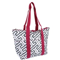 gray pink greek key wine tote wine purse
