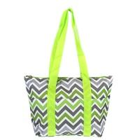 green gray chevron wine tote wine purse
