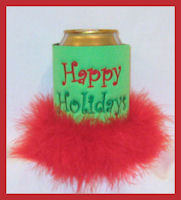 happy holidays can feather koozie