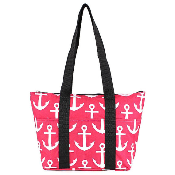 hot pink anchor with black straps wine tote wine purse
