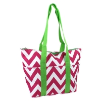 Hot Pink Chevron with Green Straps Insulated Wine Tote Wine Purse