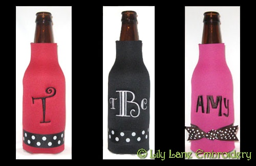 Longneck Beer Bottle Cooler with Polka Dot Ribbon