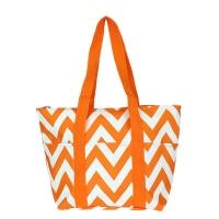 orange white chevron wine tote wine purse