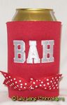red and white sports fan koozie