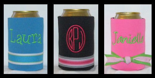 Preppy Striped Ribbon Can and Bottle Coolers