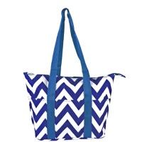 royal blue white chevron wine tote wine purse