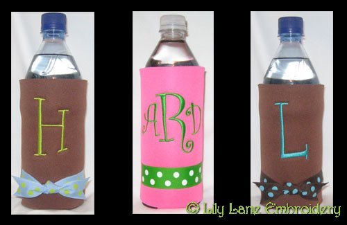 Water or Soda Bottle Cooler with Polka Dot Ribbon