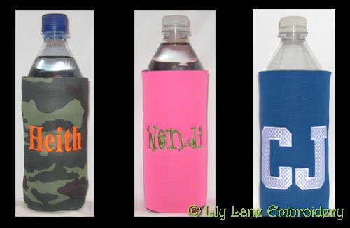Water or Soda Bottle Cooler with Name or Monogram Only