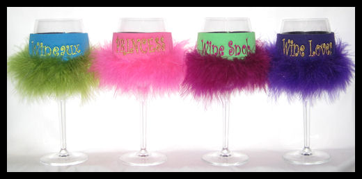 wine glass koozies with feathers